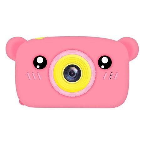 Мультяшная цифровая камера, детские игрушки, креативная развивающая игрушка для детей, аксессуары для обучения фотографии, подарки на день рождения, детские товары - Цвет: Pink Bear