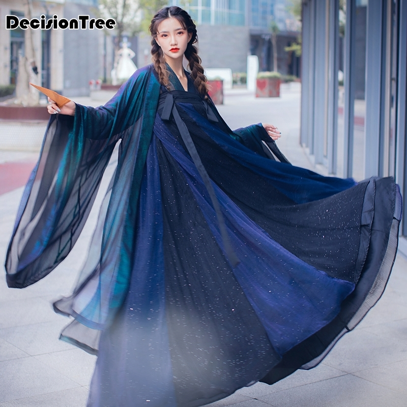 2020 Hanfu Chinese Dance Costume Traditional Stage Outfit Hanfu Women Ancient Dress Folk Festival Performance Clothing
