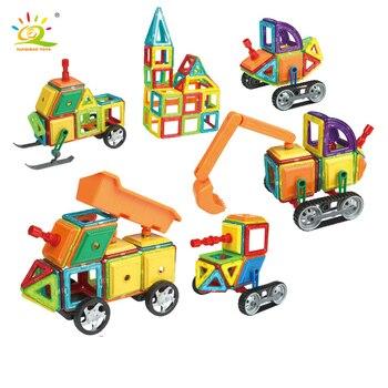 162pcs Standard Size Magnetic Engineering Vehicle Construction Building Blocks DIY 3D Bricks Educational Kids
