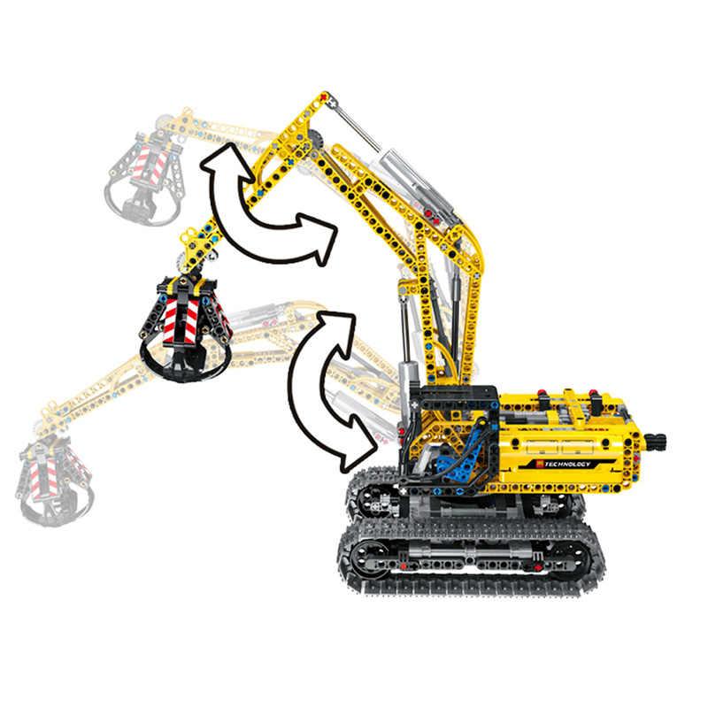 RC Excavator ไฟฟ้าติดตามรถ 2 in 1 Building Blocks 720PCS Technic Engineering Excavator บล็อกอิฐของเล่นสำหรับเด็ก
