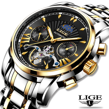 LIGE Casual Mens Watches Top Brand Luxury Automatic Mechanical Business Watch Men Waterproof Wristwatch Reloj Hombres Tourbillon - discount item  90% OFF Men's Watches