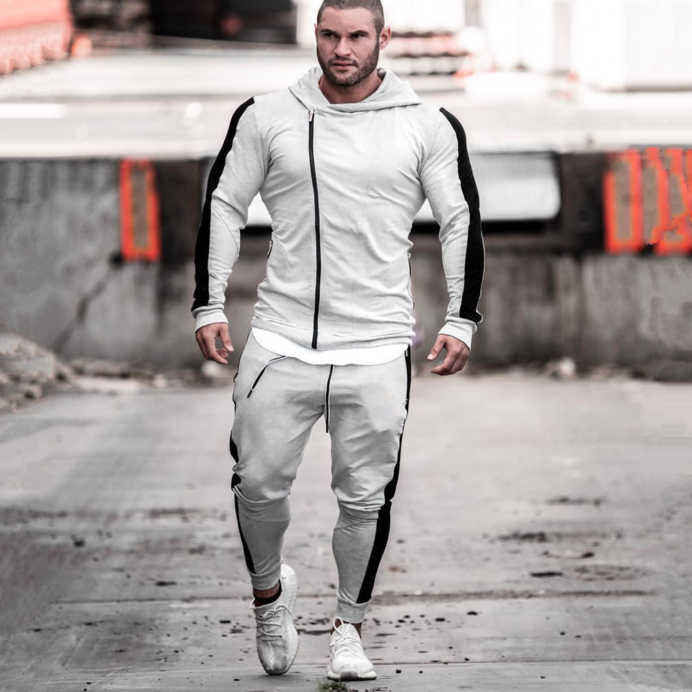 Gyms Sportswear Suit Fitness Tracksuit Hoodies Pants Sets Men Casual Sweatshirt Joggers Sweatpants Male Cotton Jacket Outerwear