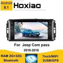 Android 8.1 2din 7 radio rádio do carro para jeep cherokee 2009 2008 2010 2016 wrangler estéreo carro para dodge chrysler bússola gps autoradio