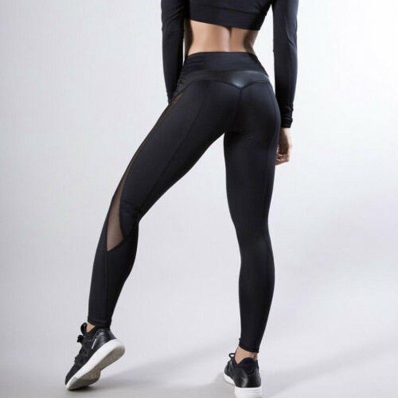 Women Fitness Leggings Running Gym Stretch Sports High Waist Pants Trousers High Waist Mesh Panels Stretchy Workout Pants