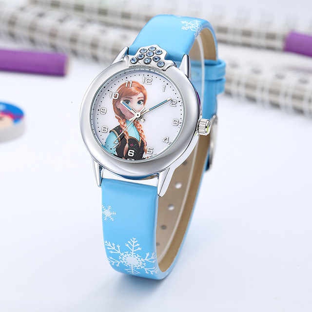 Elsa Watch Girls Elsa Princess Kids Watches Leather Strap Cute Childrens Cartoon Wristwatches Gifts for Kids Girl