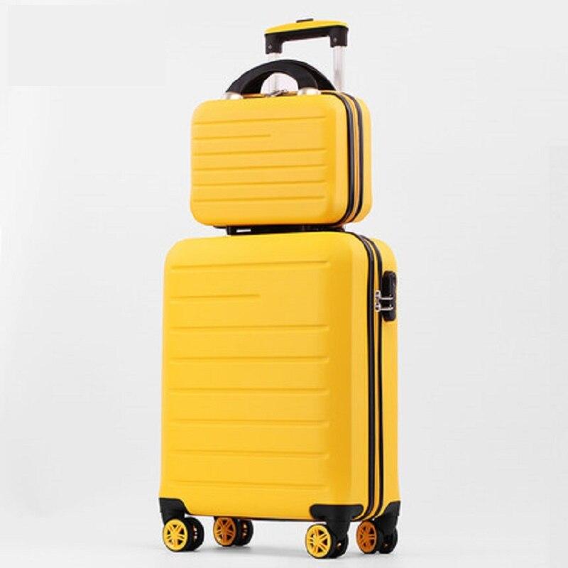 Unieke effen kleur 20/24/28 Inch size Klassieke mode handtas en Rolling Bagage Spinner merk Reizen Koffer