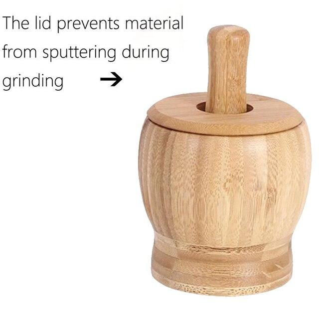 12cm Bamboo Mortar And Pestle Set Multifunction Garlic Press Spice Mill Grinder Set Handheld Seasoning Mills Grinder with Lid 5
