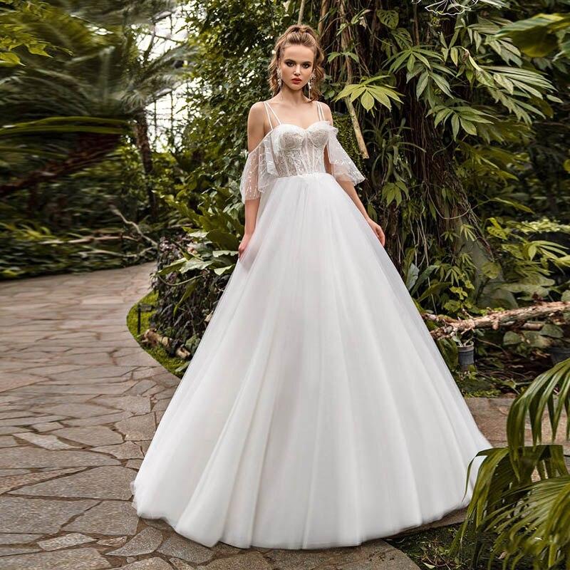 Eightale Princess Wedding Dress Sweetheart Spaghetti Strap Appliques Lace Tulle A-Line Wedding Dress Custom Made Bridal Dress