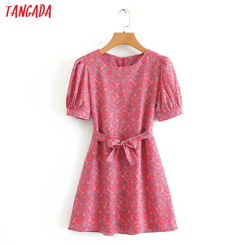 Tangada Japanese Style Female Flowers Print Mini Dress For Summer Short Sleeve Ladies Vintage Short Dress Vestidos 2J17