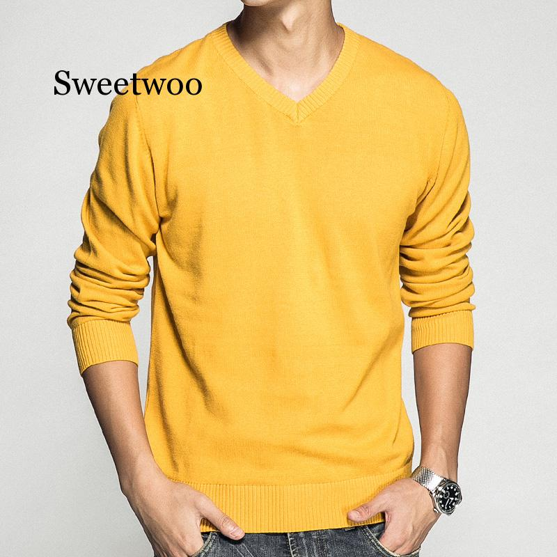 Men's Pullover V-neck 100% Cotton Solid Color Sweater 2020 Autumn And Winter New Long-sleeved Casual Sweater M-3XL