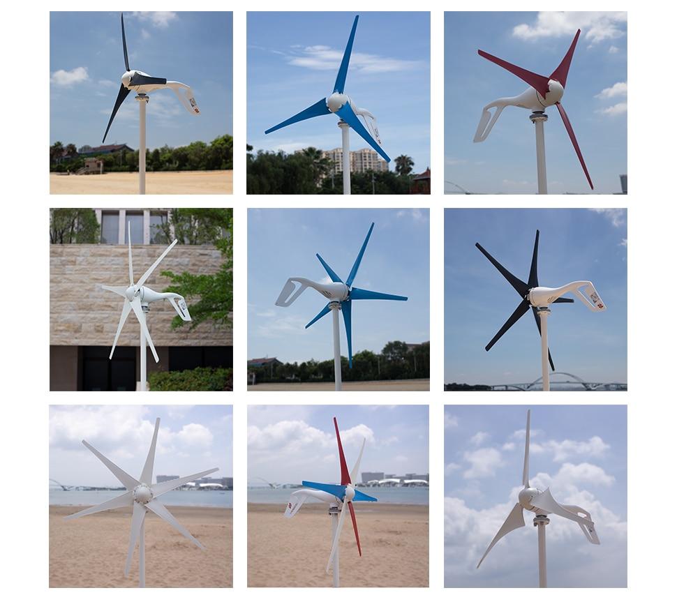 H8054621b96434ae59b8ef6c7ddaae06aU - Small Wind Turbine Generator 400W Mini Windmill WindTurbine Controller 3/5/6 blades Home gerador eolico Charge for Marine Boat