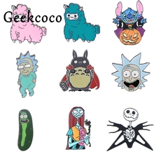 J1186 Geekcoco Cartoon Cat Sheep Animals Pin Brooches Cute Badges Lapel Pins Funny Jewelry Pins Collection j1221 geekcoco cartoon cat animals pin brooches anime doraemon badges lapel pins funny jewelry pins collection