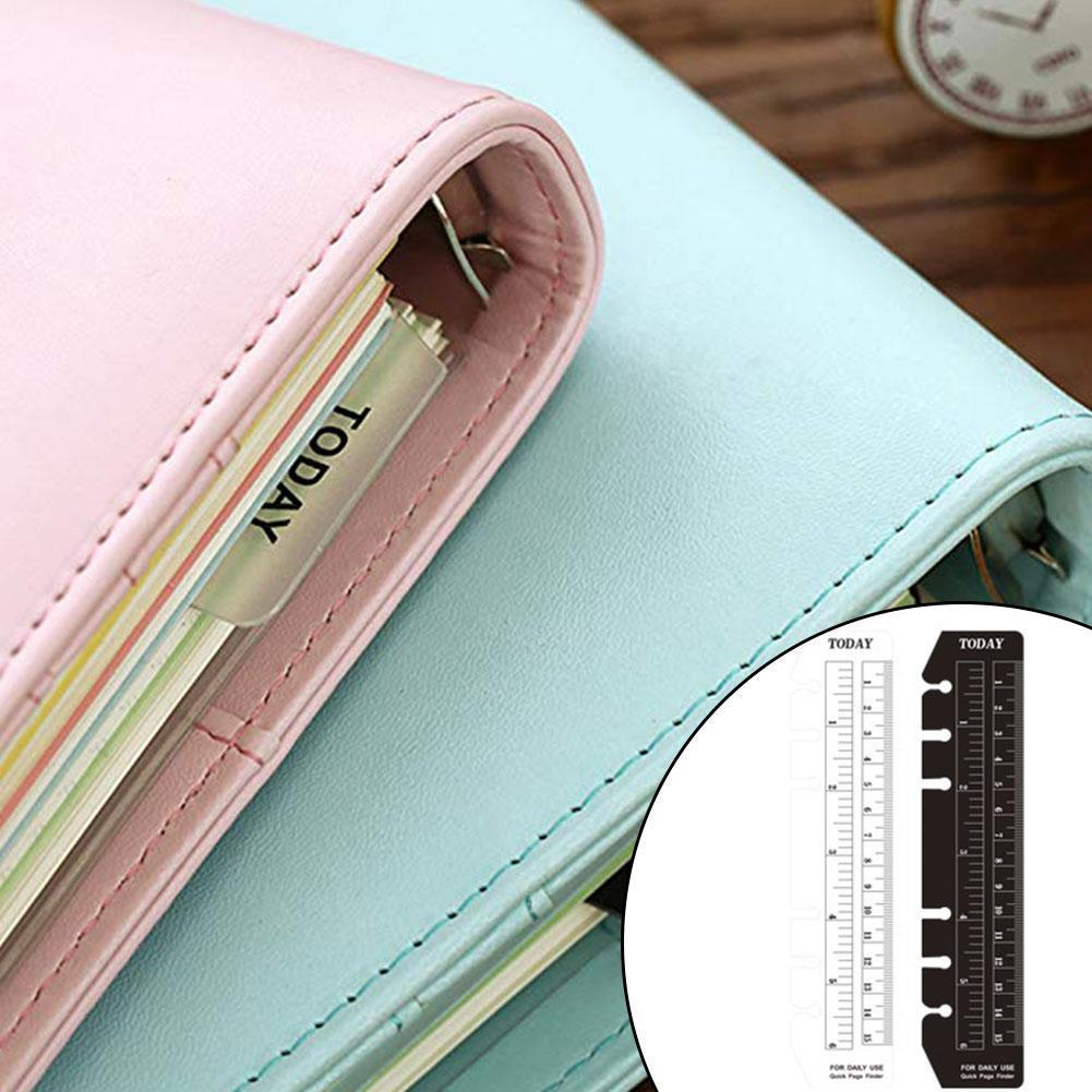 1pc Notebook Index Page Pvc Loose-leaf Separator Page Different Bookmark A5/a6/a7 Multi-function 6holes Ruler Size E9V2