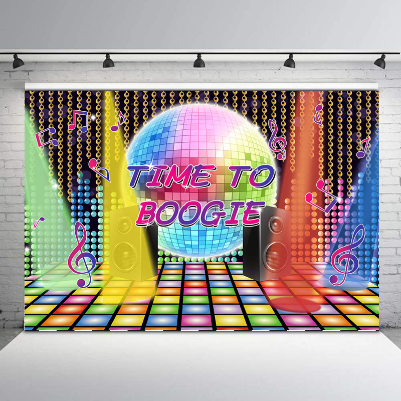 NeoBack Disco Neon Photography Backdrops for Adults Back to 80s 90s Birthday Party Photo Background Dessert Banner Backdrop