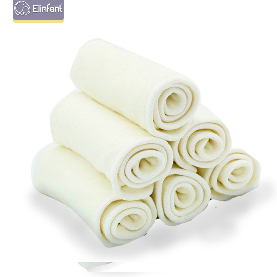 Elinfant 10pcs 4 Layers Bamboo Fiber Diaper Insert Reusable Supre Soft Baby Nappy Insert 35x13cm For Cloth Diaper&covers