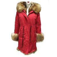 2019 New natural tartan fox fur red men jacket big collar warm parka winter coat S 4XL
