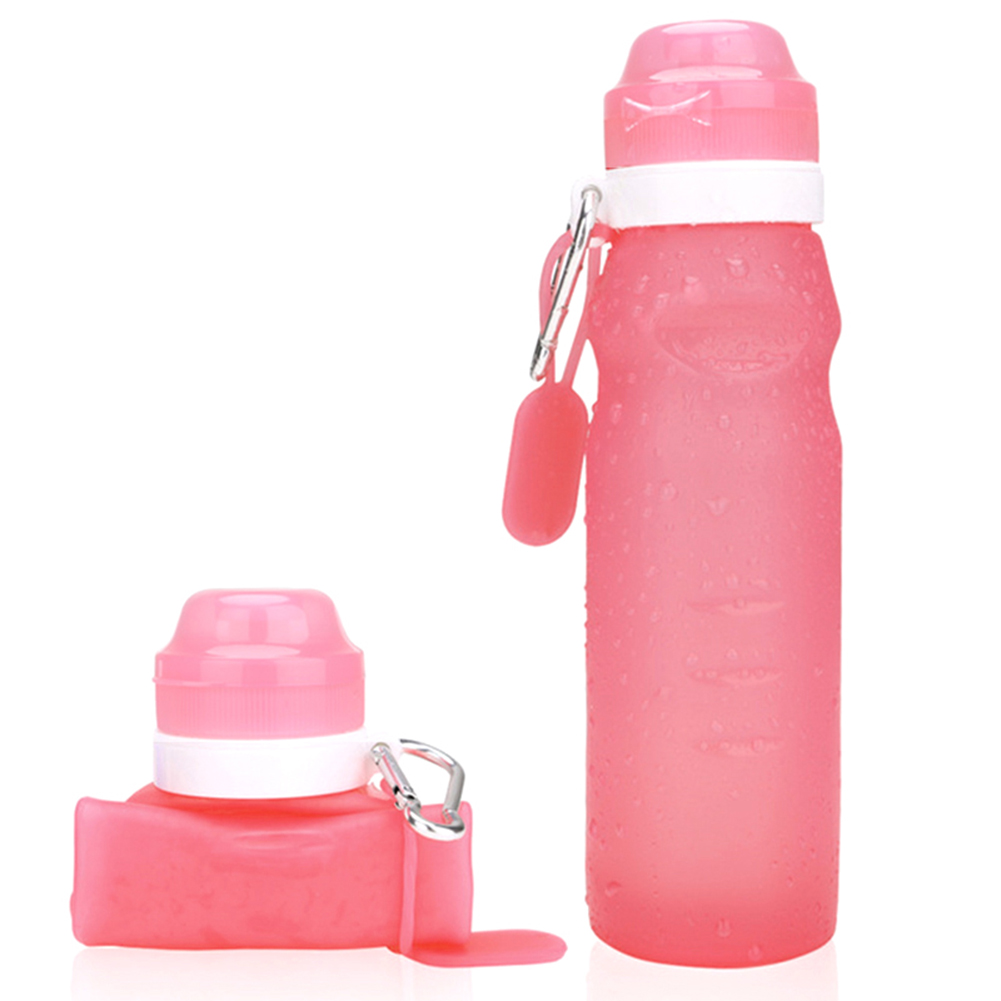 Newly 600ML Collapsible Silicone Water Bottle with hook Leak Proof Portable Cup for Travel Sports Outdoor SD669 in Sports Bottles from Sports Entertainment