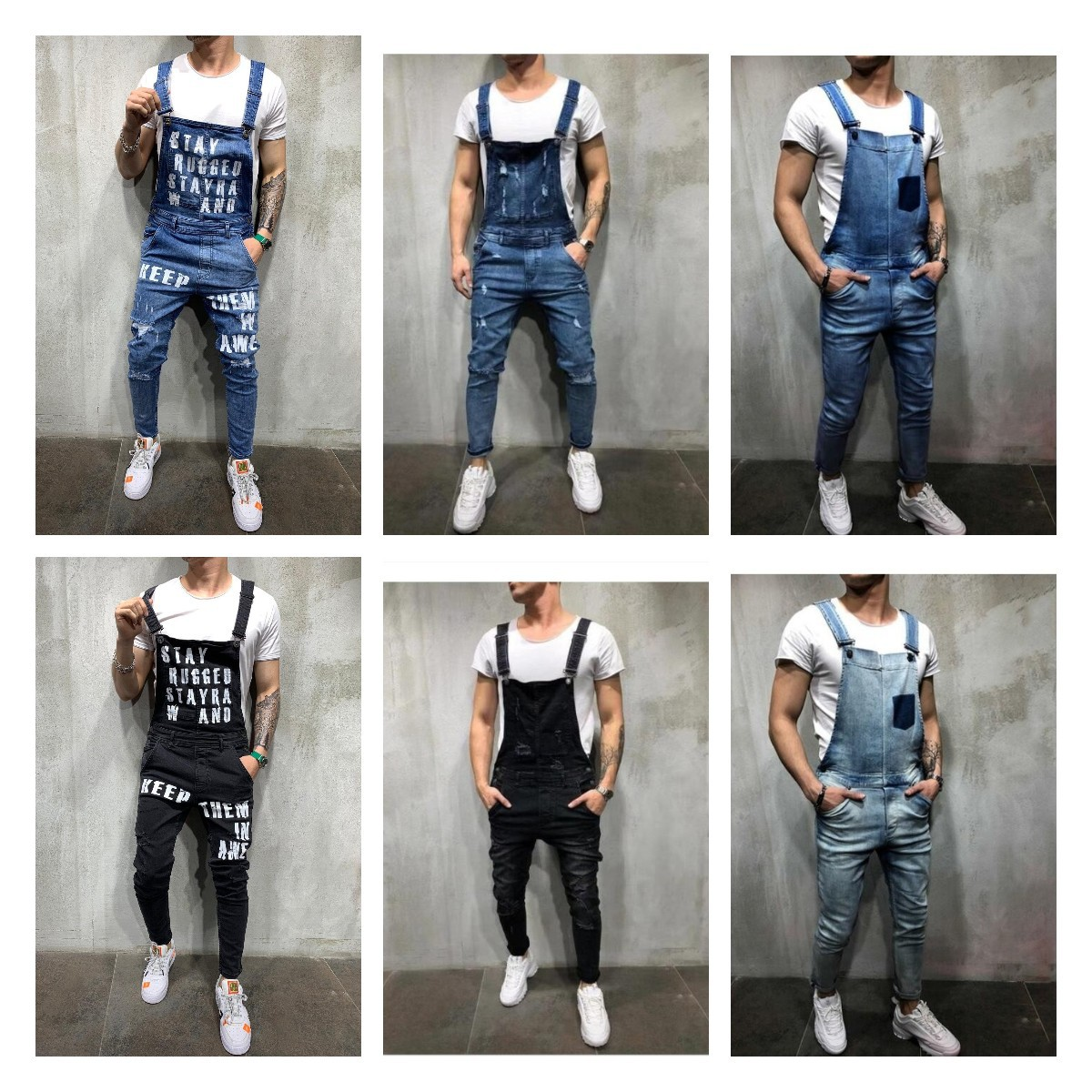 Wish Fashion Men Of Camisole Denim Romper Ripped Jeans Trousers Popular Work Clothes