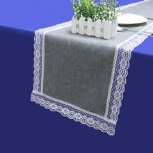 Tabela do vintage corredor juta imitado linho rústico mesa bandeira com borda de renda decoração casamento sólido cinza festa toalha estreita
