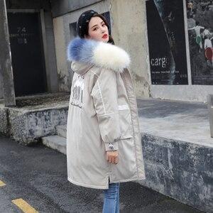 Image 4 - Veste femme hiver chaud, manteau à capuche, col en fourrure, veste brodée, veste femme, épaisse et chaude rembourrée en coton vêtements dextérieur, grande taille, Parka longue