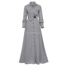Feminino listrado maxi andar de comprimento laço laço manga longa solto botão vestido outono bolso elegante a linha casual longo vestido