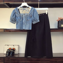 Summer new sexy two piece set 2 women outfits denim jeans crop
