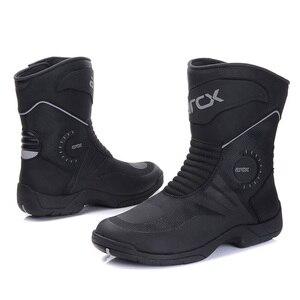 Image 2 - ARCX Xe Máy Nam Cảo Tháo Giày Chống Nước Botas Moto Da Bò Chính Hãng Moto Giày Xe Máy Màu Đen