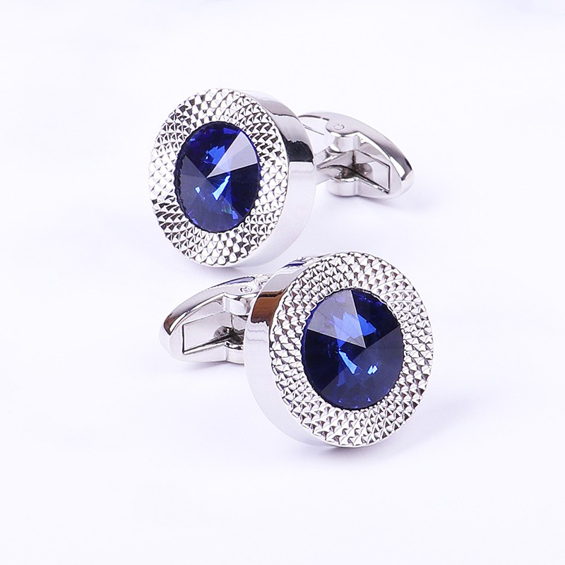 Blue Crystal Cone Cufflinks Men Classic Brand Blue Prismatic Cuff Button Designer High Quality Men's Shirt Taper Cuff Links