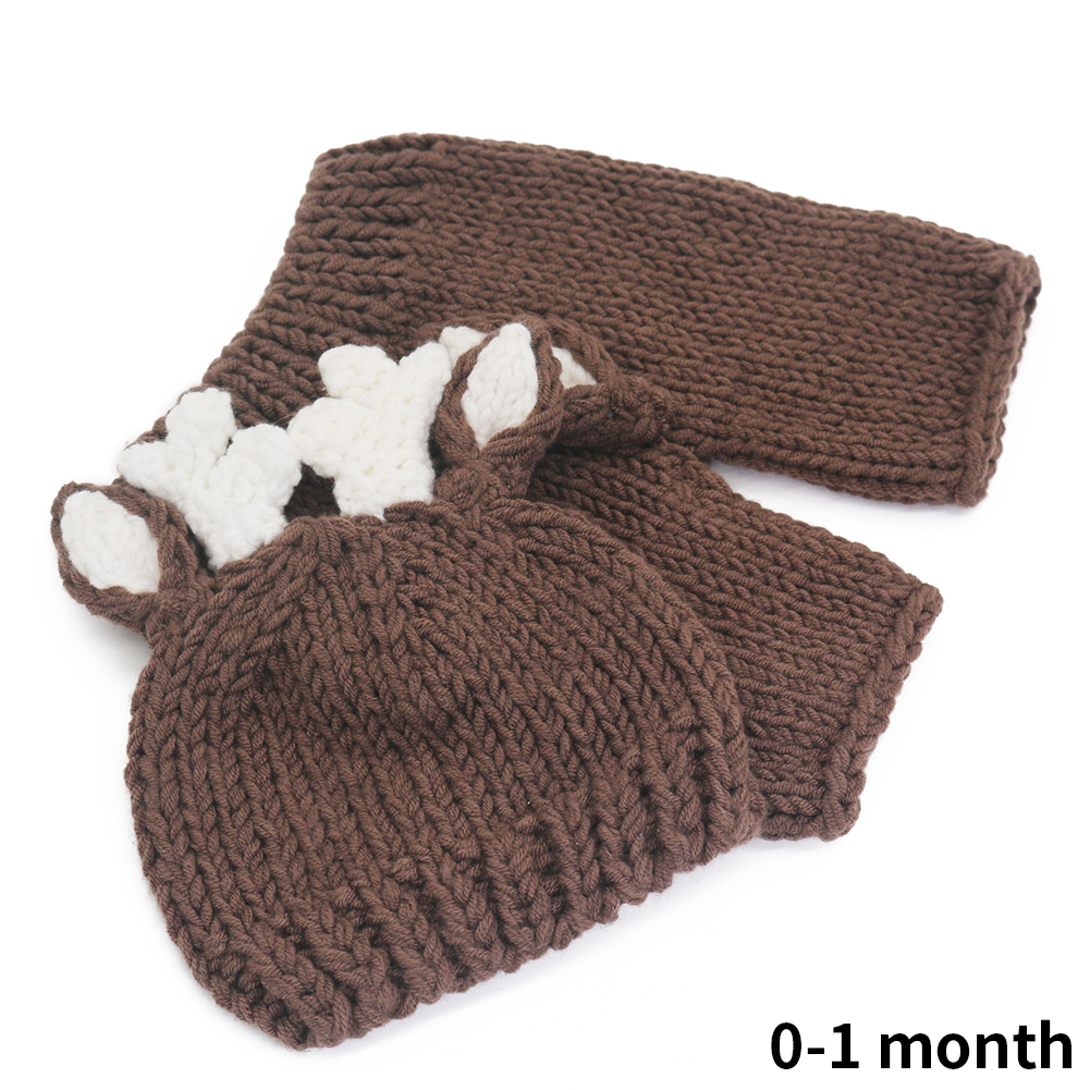 Gift Hat Pants Baby Costume Set Baby Shower Cartoon Handmade Clothing Cute Photography Prop Christmas Deer Knitted Outfits