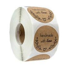 Круглые натуральные крафт-наклейки ручной работы Скрапбукинг для упаковки клейкая наклейка «спасибо» этикетки для печати Канцтовары