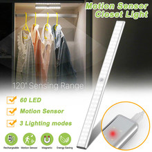 60 LEDs PIR Motion Sensor Cabinet Light Closet Light USB Rechargeable Cupboard Wardrobe Bed Lamp USB Port Wardrobe Stair Light(China)