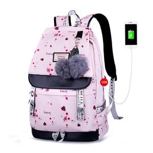 Image 4 - OKKID الأطفال الحقائب المدرسية للفتيات لطيف الوردي على ظهره المدرسية الكورية نمط bowknot الفراء الكرة فتاة حقيبة المدرسة bookbag