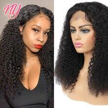 NY кудрявые натуральные кудрявые волосы на сетке спереди/застежка прозрачные HD человеческие волосы парики 8-28 дюймов индийские неповрежденн...