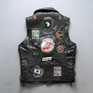 Image 2 - 22085 Read Description! Asian size good quality Cow skin vest mens cowhide leather stylish rider vest