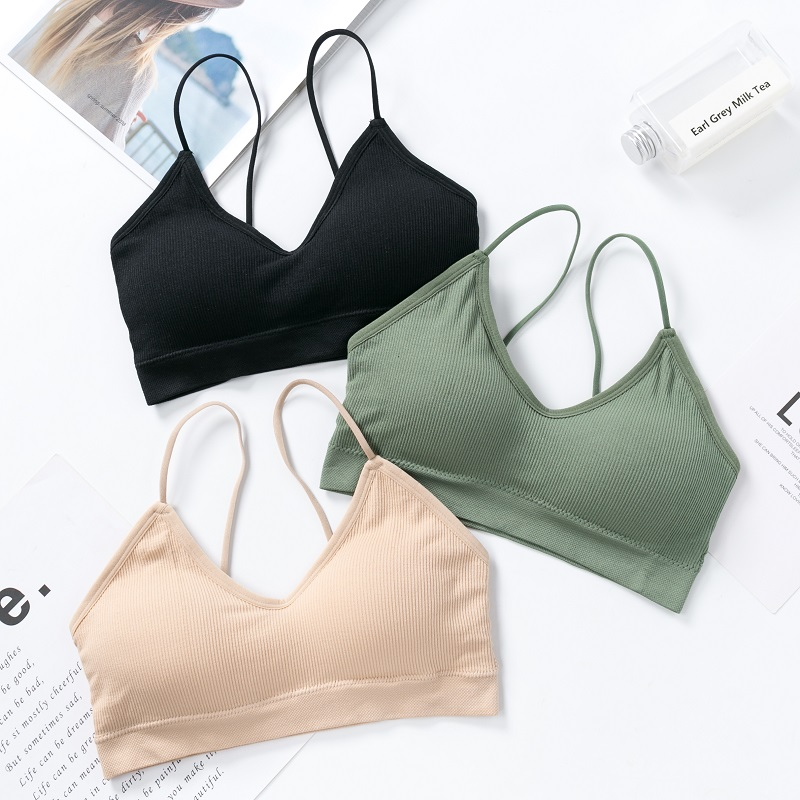 seamless wireless push up ladies soft comfort sport fitness Thin cup sexy fashion The back black bra