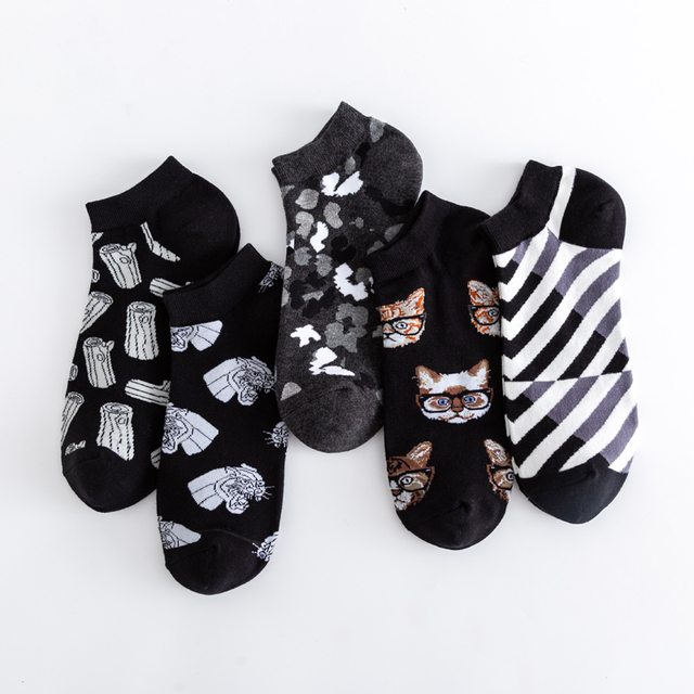 High Quality New 2020 Summer Men's Casual Novelty Ankle Socks Colorful Combed Cotton Puzzle Geometric Pattern Dress Boat Socks 1