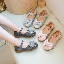 Детские сандалии для девочек; бант с кристаллами; блестящая обувь принцессы с блестками; Летняя детская обувь; коллекция года; модная обувь с бантом