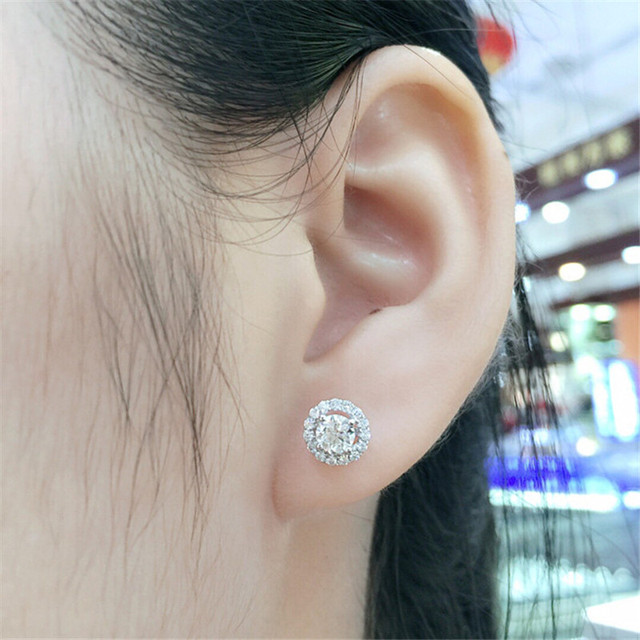 Trendy Genuine 925 Sterling Silver Stud Earring 5mm Lab Diamond Cz Engagement Wedding Earrings for women.jpg 640x640 - Trendy Genuine 925 Sterling Silver Stud Earring 5mm Lab Diamond Cz Engagement Wedding Earrings for women men Charm Party Jewelry