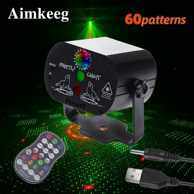 미니 LED 레이저 무대 조명 크리스마스 조명 DJ 디스코 효과 60 모드 원격 제어 USB 파티 램프 바 파티 장식 쇼