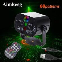 Mini Laser LED światło sceniczne światła świąteczne DJ Disco efekt 60 tryb pilot USB lampa na przyjęcie Bar Party Decoration Show