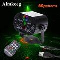 Mini led laser luz de palco luzes de natal dj efeito disco 60 modo controle remoto usb festa lâmpada barra festa decoração mostrar