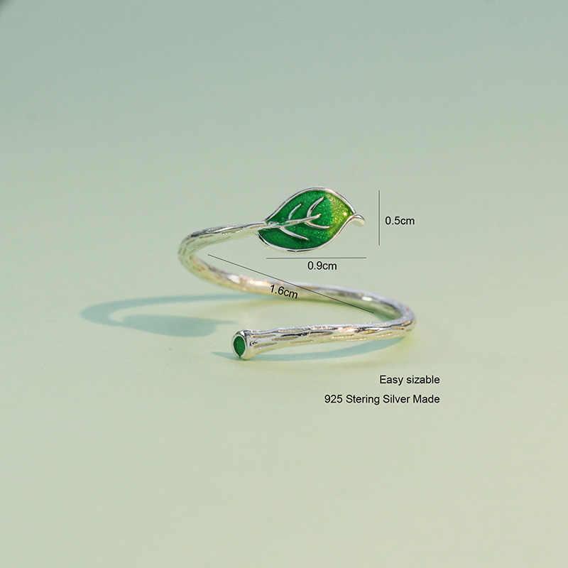 Trusta חדש הגעה ירוק עלה סניף טבעת פתיחת אצבע מתכוונן טבעות 100% 925 סטרלינג אמיתי כסף תכשיטי DS575