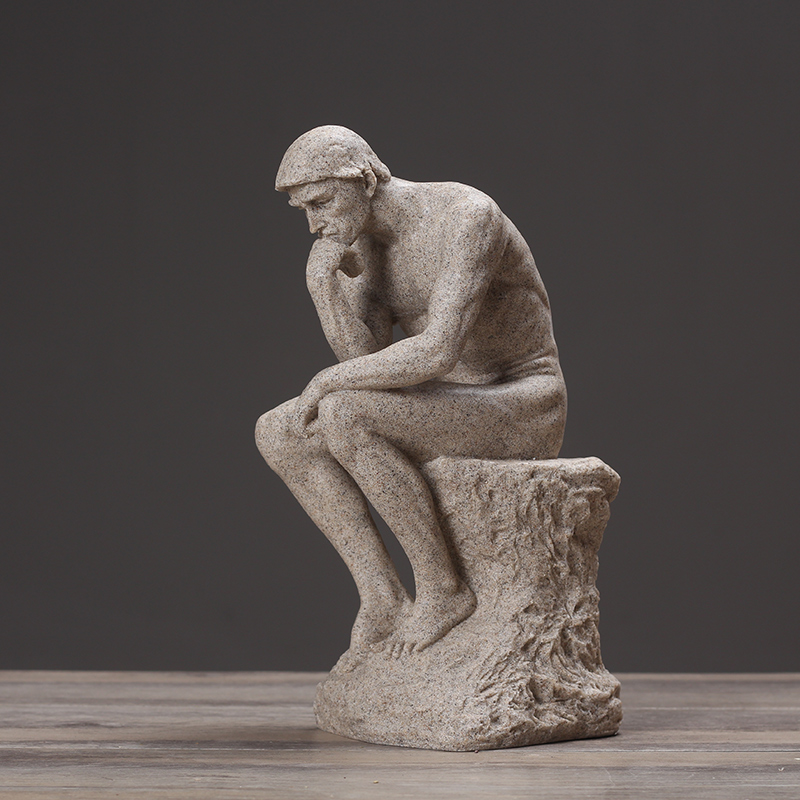 Rodin The Thinker Statue Fine Art Sculpture Male Nude Figure Sculpture Statue Ornament Modern Art Resin Decoration Craft