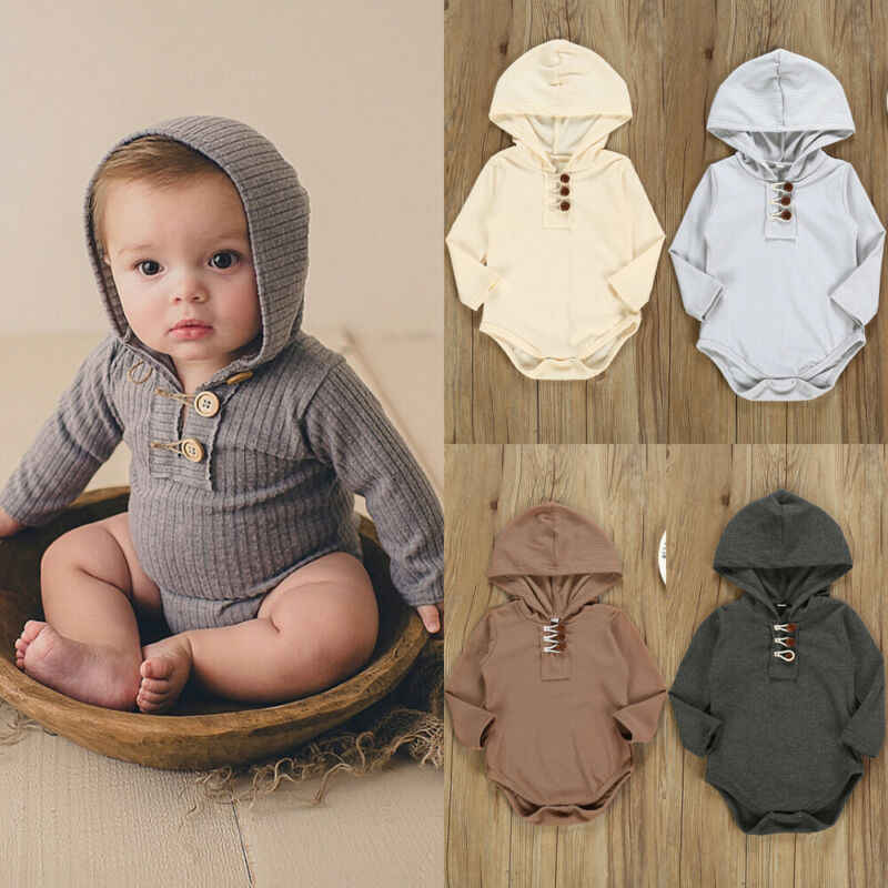 Soft Cotton Newborn Romper Baby Girl Boy Long Sleeve Hooded Romper Jumpsuit Solid Outfit Infant Baby Clothes
