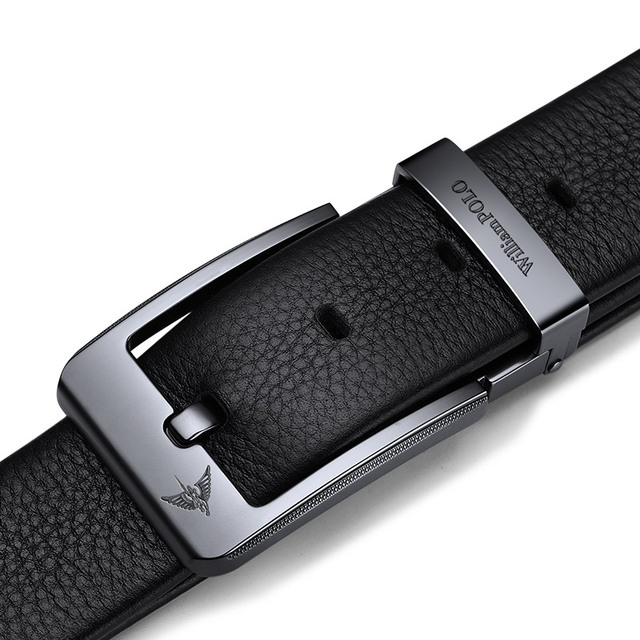 WilliamPolo Cowskin leather luxury strap male belts for men new fashion classice vintage pin buckle men belt High Quality 2