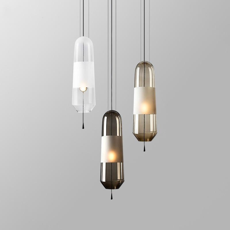 Nordic Glass Pendant Lamp Restaurant Living Room Hotel Bedroom Bedside Lamp Post-modern Pendant Lights Home Decor Light Fixtures
