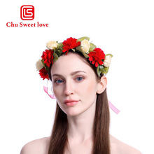 Simulation Floral Crown Flower Headband For Beatuiful Girls Ladies Bride Crown Hair Vintage Tiara Accessories Party Stylish stylish bow embellished tiny floral pattern light blue headband for girls