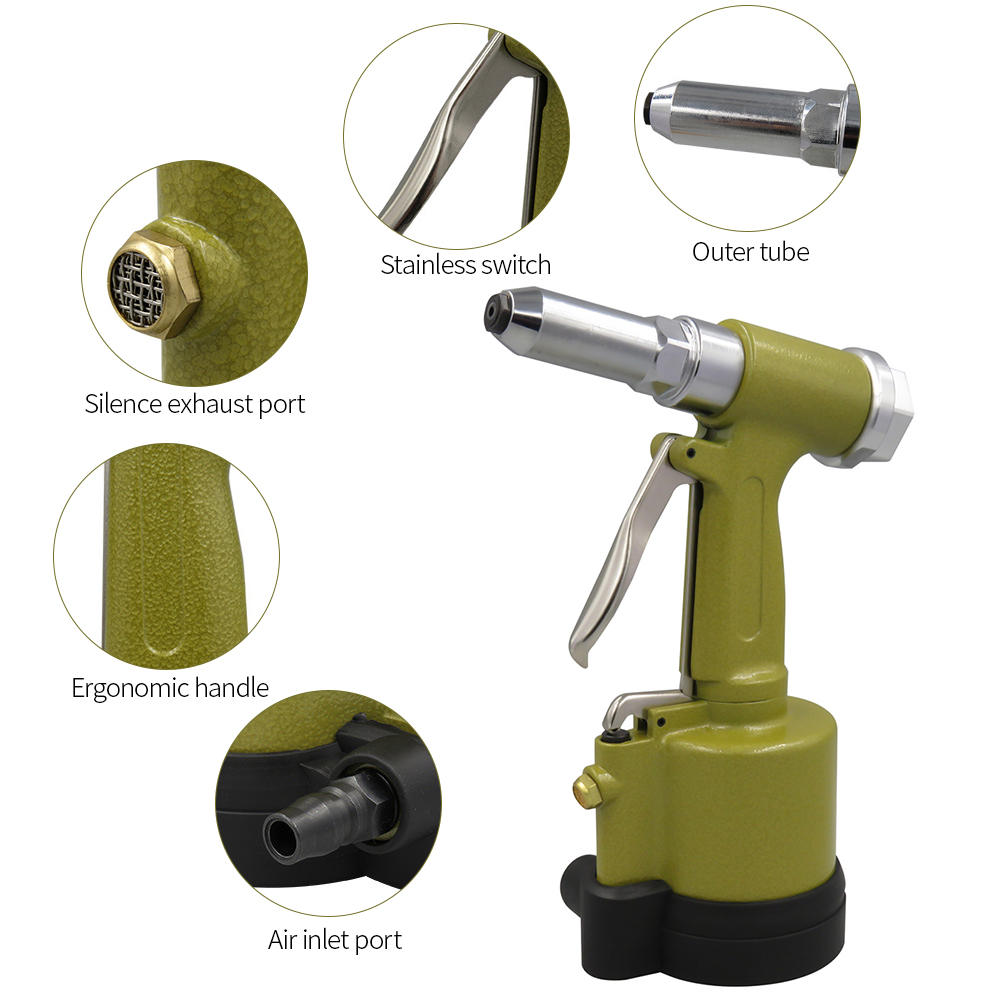 Pneumatic Hydraulic Air Riveter Labor Saving Rivet Riveting Gun Nut Nail Insert Hand Tool With Wrench Set Of Tools