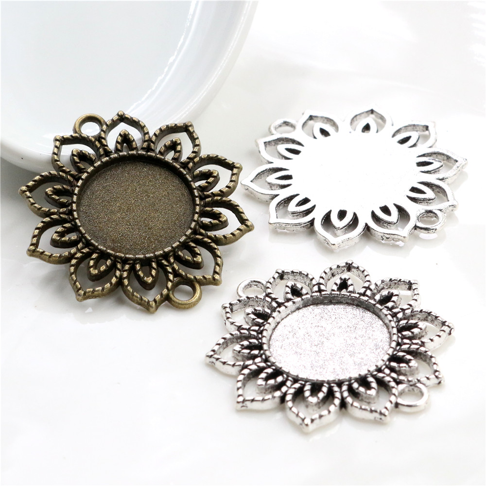 10pcs 18mm Inner Size Antique Bronze And Silver Plated Flower Connection Hollow Style Cabochon Base Cameo Setting Charms Pendant