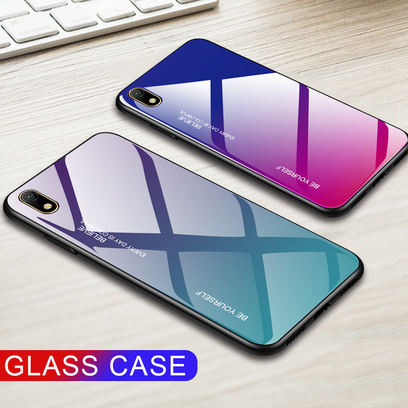 Luxury Phone Case For Huawei <font><b>Honor</b></font> <font><b>8X</b></font> 8S 7A 7C Pro 5.99 5.7 5.45 inch Gradeint Case Tempered Glass Case Anti-scracth Back <font><b>Cover</b></font> image